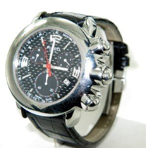 14: Pippo Perez Stainless Steel Leather Strap Watch.