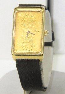 15: Corum 18K Yellow Gold Leather Strap Watch