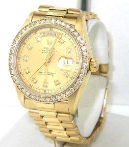 270: Rolex 18K Yellow Gold Diamond President Watch