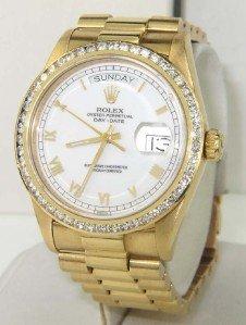 189: Rolex 18K Yellow Gold Diamond President Watch