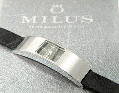 3A: Milus Stainless Steel Leather Strap Watch