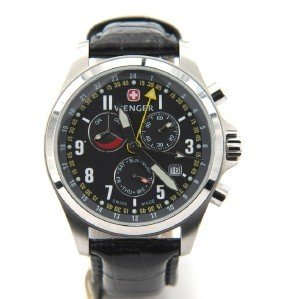 10: Wenger Stainless Steel Chronograph Leather Strap Wa