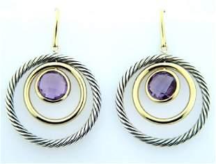 David Yurman 18K Gold /Silver, Amethyst Earrings!