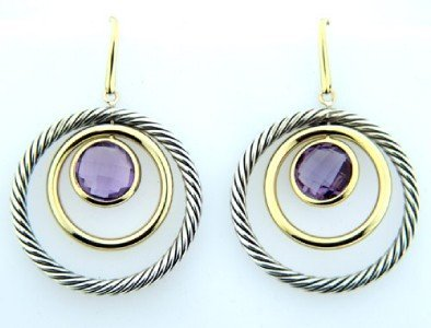 David Yurman 18K Gold /Silver, Amethyst Earrings!