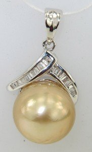 14K White Gold Diamond & South Sea Pearl Pendant