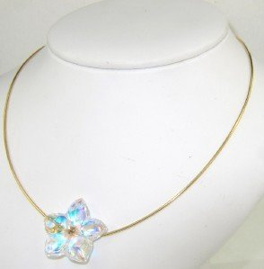 Baccarat 18K Yellow Gold Crystal Blossom Necklace