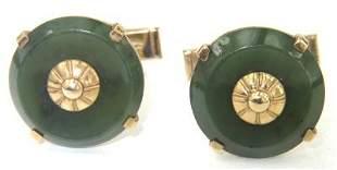 14K Yellow Gold Enamel Cufflinks