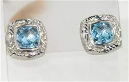 41: Charles Krypell Gold/Silver Blue Topaz Earrings