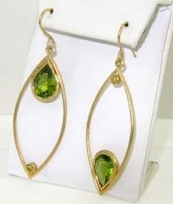 Antique 18K Yellow Gold Peridot Earrings