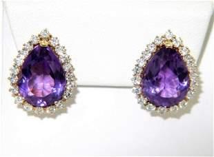 14K Yellow Gold Diamond & Amethyst Earrings
