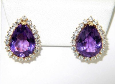 14K Yellow Gold Diamond & Amethyst Earrings