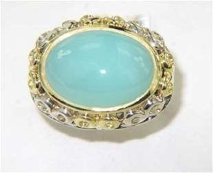 Charles Krypell Gold/Silver Chalcedony Ring