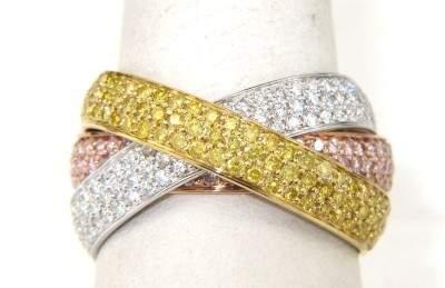 Cartier 18K Tri-Color Gold Trinity Band With Diamo