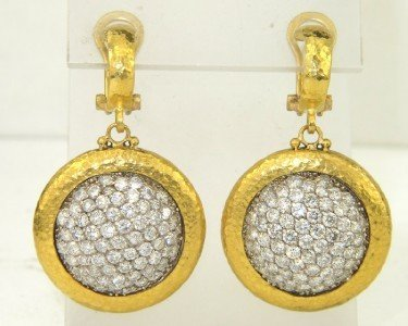 217: Gurhan 24K Yellow Gold Diamond Earrings