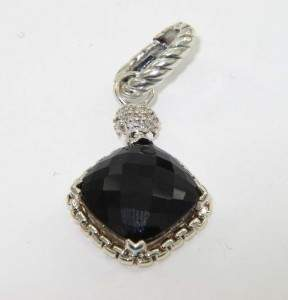 David Yurman Silver Onyx & Diamond Pendant