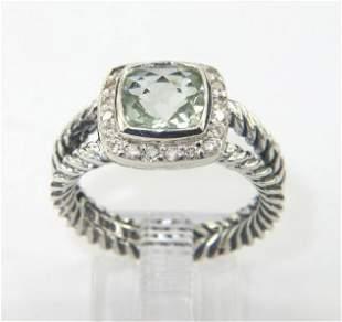 David Yurman Silver Prasiolite & Diamond Ring.