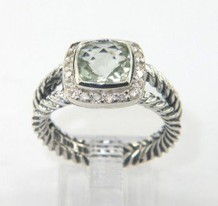 14B: David Yurman Silver Prasiolite & Diamond Ring.