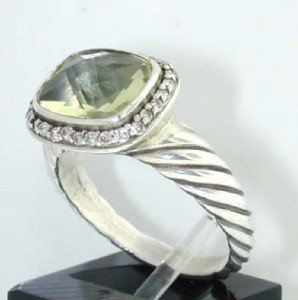 4A: David Yurman Silver, Prasiolite & Diamond Ring.