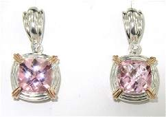 78B: Charles Krypell Gold/Silver Pink Topaz Diamond Ear
