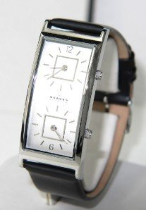 7: Skagen Denmark Stainless Leather Strap Steel Watch