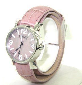 13A: Ritmo Stainless Steel Pink Leather Strap Watch