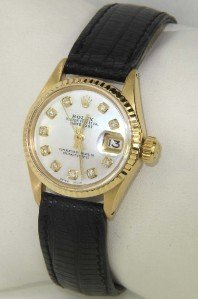6A: Rolex 18K Yellow Gold Diamond Leather Strap Watch