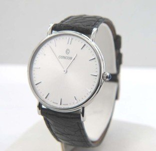 10A: Concord Stainless Steel Leather Strap Watch