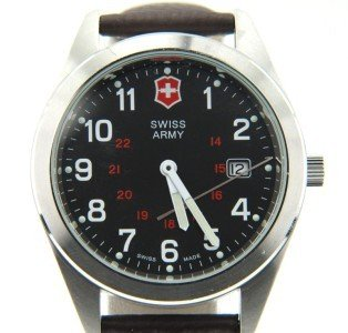 6B: Swiss Army Stainless Steel Leather Strap Watch