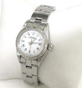 4A: Rolex Stainless Steel Roman Numerals Ladies Watch