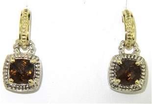Charles Krypell Gold/Silver Smoky Topaz Earrings