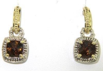 2: Charles Krypell Gold/Silver Smoky Topaz Earrings