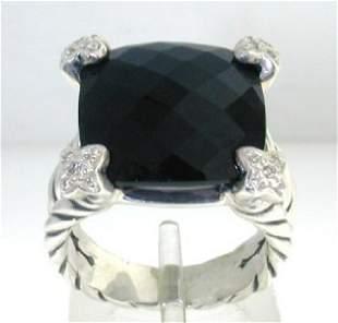 David Yurman Silver Onyx & Diamond Ring.