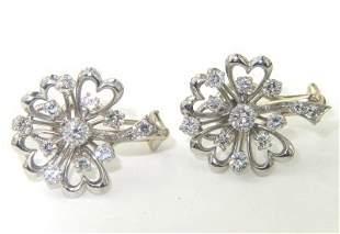 14K 2-Toned Gold Diamond Earrings