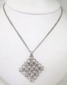 9: 14K White Gold Diamond Necklace