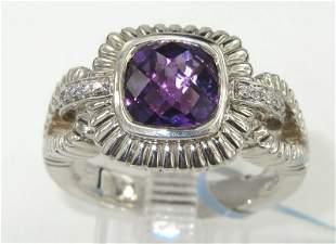 Charles Krypell 14K Gold/Silver Amethyst & Diamond