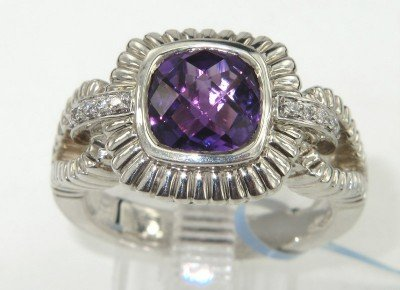 11: Charles Krypell 14K Gold/Silver Amethyst & Diamond