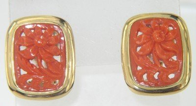 12: 18K Yellow Gold Coral Earrings