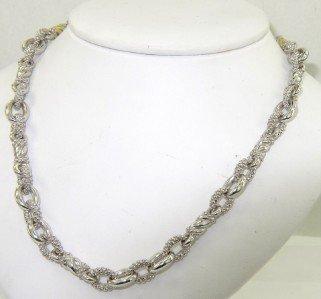 14: Judith Ripka Silver & 18K Yellow Gold Diamond Neckl