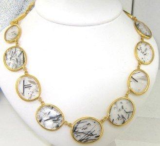 353: Gurhan 24K Gold Diamond & Rutilated Quartz Necklac