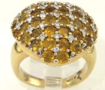 361: 14K Yellow Gold Citrine & Diamond Ring