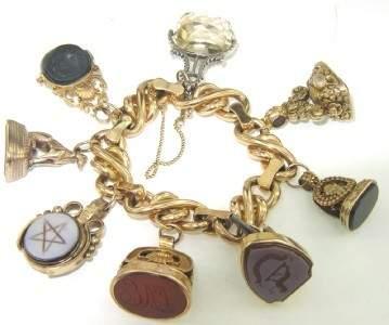 246: 18K/14K Yellow Gold Colored Stones Charm Bracelet