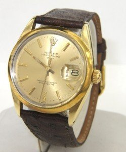 16A: Rolex 18K Gold / Stainless Steel Leather Strap Wat