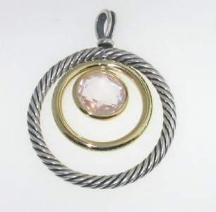 David Yurman 18K Gold, Silver, Rose Quartz Pendant