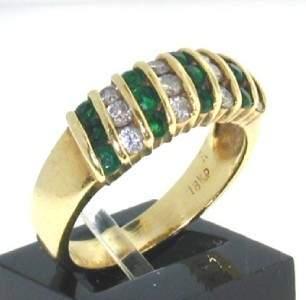 Tiffany & Co 18K Yellow Gold Diamond & Emerald Ring