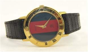Gucci Gold Plated Leather Strap watch