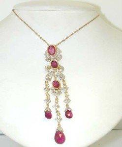 1: 14K Yellow Gold Diamond & Tourmaline Necklace.