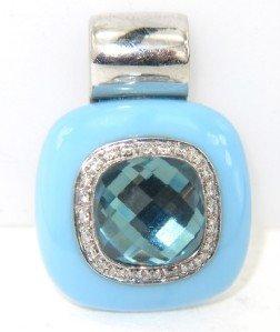 5: Silver Diamond, Enamel And Blue Topaz Pendant