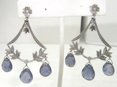 17: 18K White Gold Tourmaline & Diamond Earrings