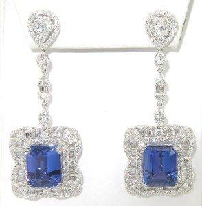 233: 233: 18K White Gold Tanzanite & Diamond Earrings