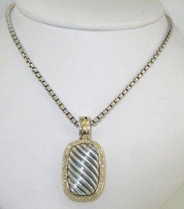 15: David Yurman Silver/18K Yellow Gold Diamond Necklac